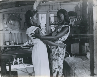 Black Orpheus [Orfeo negro] (Two original photographs from the 1959 film). Marcel Camus, starring director, Luis Bonfa Antonio Carlos Jobim, composers, Vinicius de Moraes, play, Breno Mello Marpessa Dawn, starring.