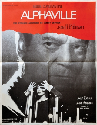 Alphaville (Original French poster for the 1965 film). Jean-Luc Godard, Anna Karina Eddie...
