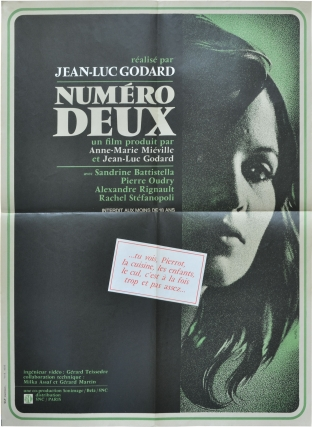 Numero Deux (Original French poster for the 1975 film). Jean-Luc Godard, Anne-Marie Mieville, Pierre Oudrey Sandrine Battistella, Alexandre Rignault, screenwriter director, screenwriter, starring.