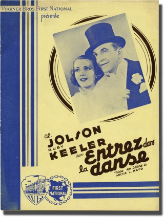 Entrez dans la danse [Go Into Your Dance] (Original French pressbook for the 1935 film). Archie Mayo, Earl Baldwin, Bradford Ropes, Al Jolson Barton MacLane, Glenda Farrell, Ruby Keeler, director, screenwriter, novel, starring.