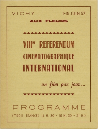 VIII Referendum Cinematographique International (Original Program for the 1957 film festival)....