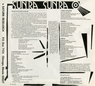 Original Saturn Research flyer for Sun Ra, circa 1970s