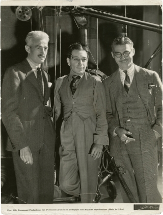 The Glass Key (Original photograph of Dashiell Hammett, George Raft, and Frank Tuttle on the set...