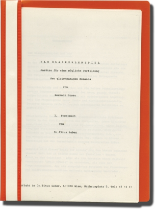 Das Glasperlenspiel (Original treatment script for an unproduced film). Herman Hesse, Titus...