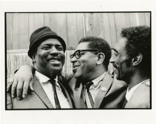 Original double weight photograph of Thelonious Monk, Dizzy Gillespie, and Gerald Wilson....