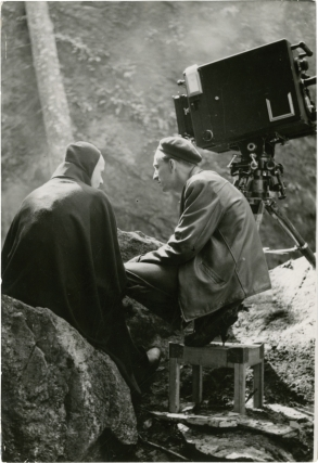 The Seventh Seal (Original photograph from the set of the 1957 film). Ingmar Bergman, Bengt Ekerot Max von Sydow, screenwriter director, starring.