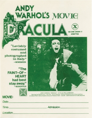 Andy Warhol's Dracula [Blood for Dracula] (Original mini poster for the 1974 film). Andy Warhol,...