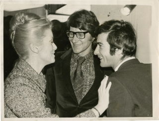 Original photograph of Yves Saint Laurent, Catherine Deneuve, and Jean Claude Brialy in 1968....