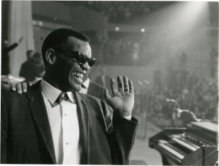 Two original photographs of Ray Charles in France, 1961