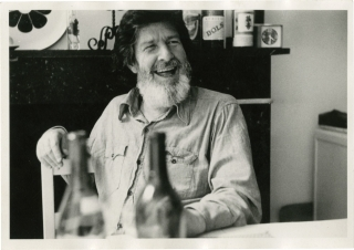 Two original photographs of John Cage in Brussels, 1972