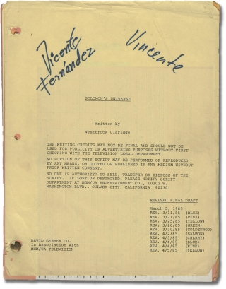 Solomon's Universe (Original teleplay script for the 1985 television film). Lee H. Katzin,...