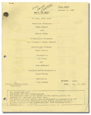 Who's the Boss: To Tony, with Love (Original teleplay script for the 1989 television episode)....
