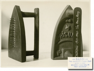 "Original photograph of Man Ray's sculpture ""The Gift"" [Cadeau]. Man Ray, Attilio Bacci, sculpture, photographer."