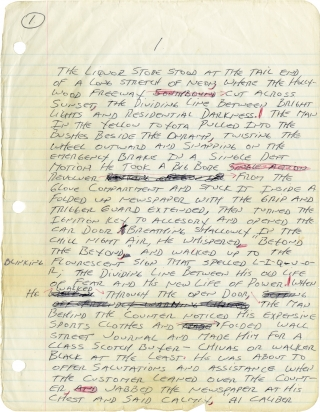 Because the Night (Original handwritten manuscript for the 1984 novel). James Ellroy