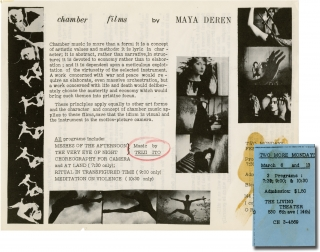 Chamber Films (Original flyer for an exhibition at The Living Theatre). Maya Deren.