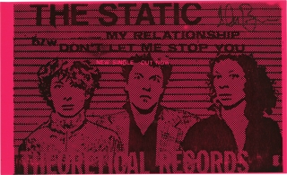 Original record release flyer for The Static, signed by Glenn Branca. The Static, Barbara Ess...