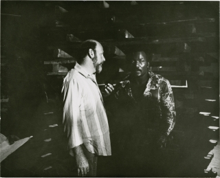 Black Gunn (Original double weight photograph of Jim Brown and Robert Hartford-Davis on the set...