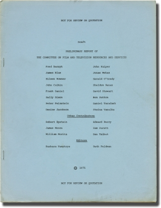 Preliminary Report of the Committee on Film and Television Resources and Services (First...