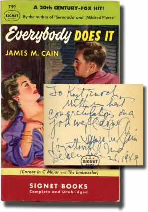 Everybody Does It (First Edition in paperback, inscribed to Signet Books founder Kurt Enoch)....