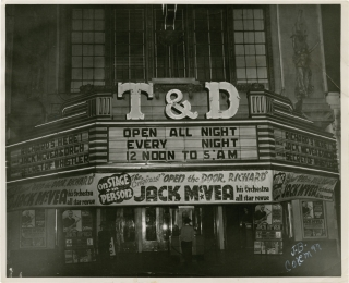T&D Theatre marquee, circa 1946 (Original photograph, signed by the photographer). J. B. Coleman,...