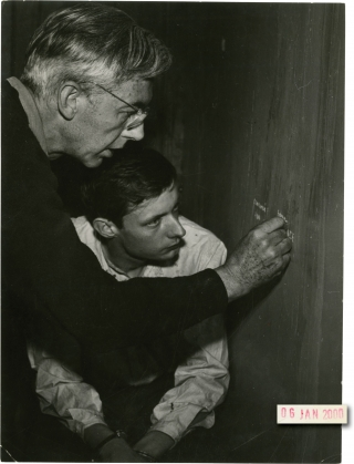 A Man Escaped [Un condamne a mort s'est echappe ou Le vent souffle ou il veut] (Original photograph from the set of the 1957 film). Robert Bresson, Andre Devigny, Francois Leterrier, screenwriter director, memoir, starring.
