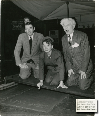 Original photograph of Anne Baxter and Gregory Peck at Grauman's Chinese Theatre, 1949. Gregory...