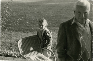 Original photograph of Charlie Chaplin with his daughter Jane, circa 1960s. Charlie Chaplin, Hans...