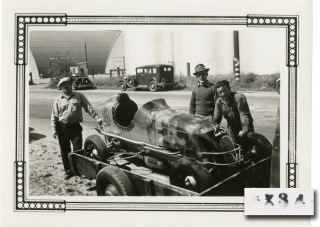 Six original photographs of pre-War California midget car racing in Los Angeles, circa 1941....