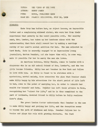 The Wings of the Dove (Reader's Notes script for an unproduced film). Henry James, Hugh Brooke,...