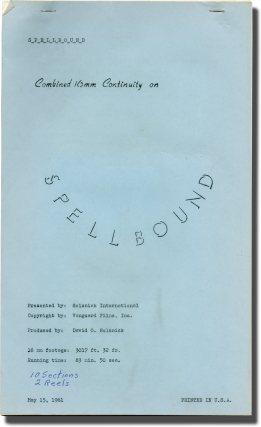 Spellbound (Post-production script for the 1961 re-release of the 1945 film). Alfred Hitchcock,...