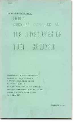 The Adventures of Tom Sawyer (Post-production script for the 1961 re-release of the 1938 film)....