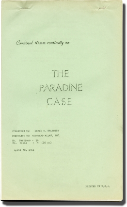 The Paradine Case (Post-production script for the 1961 re-release of the 1947 film). Alfred...