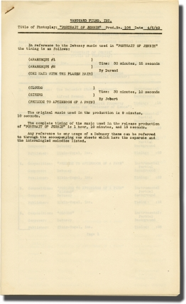 Portrait of Jennie (Post-production Music Timing script for the 1949 film). William Dieterle,...