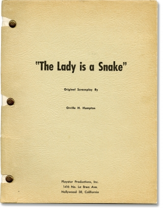 The Snake Woman [The Lady is a Snake] (Original screenplay for the 1961 film). Sidney J. Furie,...