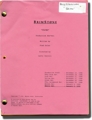 Brimstone: Faces (Original screenplay for the 1999 television series). Larry Carroll, Fred Golan,...