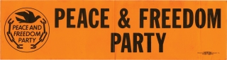 Collection of 5 original Black Panther / Peace and Freedom Party oversize bumper stickers