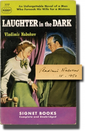 Laughter in the Dark (First Edition in paperback, signed by the author in 1950 to his publisher)....