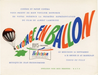 Stowaway in the Sky [Le voyage en ballon] (Original French premiere invitation for the 1960...