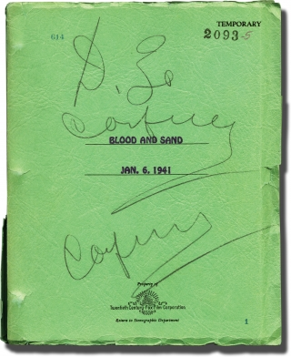 Blood and Sand (Original screenplay for the 1941 film, producer Daryl Zanuck's annotated copy)....