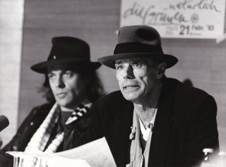 Original photograph of Joseph Beuys and Udo Lindenberg, 1983. Joseph Beuys, Lindenberg Udo, subject