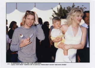 Original publicity photograph of Kurt Cobain, Courtney Love, and their daughter Francis Bean,...