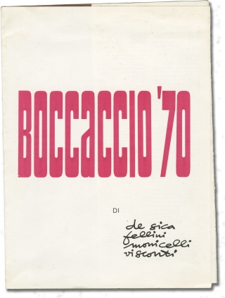 Boccaccio '70 (Original film program for the 1962 film). Vittorio De Sica, Mario Monicelli...