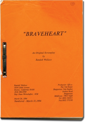 Braveheart (Original screenplay for the 1995 film). Mel Gibson, Randall Wallace, Patrick McGoohan Sophie Marceau, Catherine McCormack, starring director, screenwriter, starring.