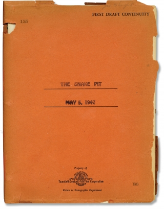 The Snake Pit (Original screenplay for the 1948 film). Anatole Litvak, Millen Brand Frank Partos,...