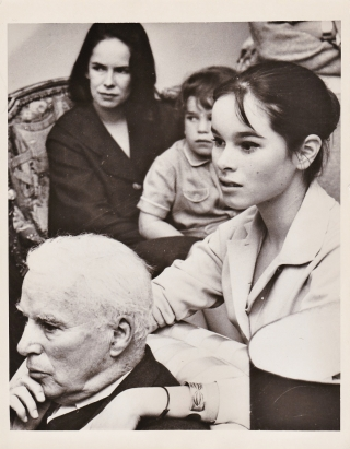 Original photograph of Charlie Chaplin and family , 1959. Charlie Chaplin, subject