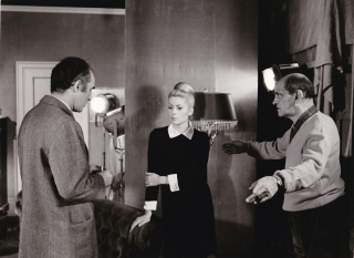 Belle de jour (Original photograph from the set of the 1967 film). Luis Bunuel, Joseph Kessel, Jean-Claude Carriere, Jean Sorel Catherine Deneuve, Pierre Clementi, Genevieve Page, Michel Piccoli, screenwriter director, novel, screenwriter, starring.