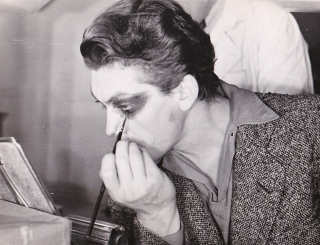 Beauty and The Beast (Collection of four original photographs of Jean Marais applying makeup on...