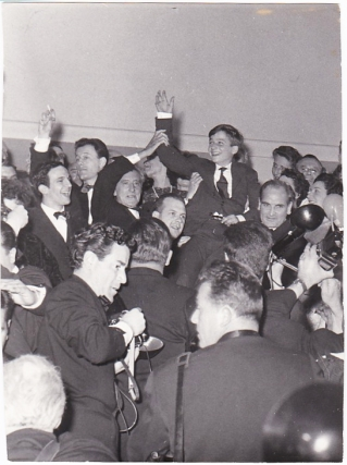 Original photograph Francois Truffaut, Jean Cocteau, and others at the Cannes Film Festival,...