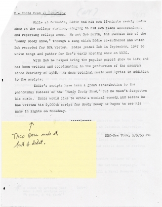 """""""It's a Howdy Doody World"""" song manuscript and typed letter signed by composer Edward Kean, circa 1949"""