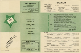Lunch menu for the Hotel Astor, Times Square, New York City, Wednesday October 7, 1936